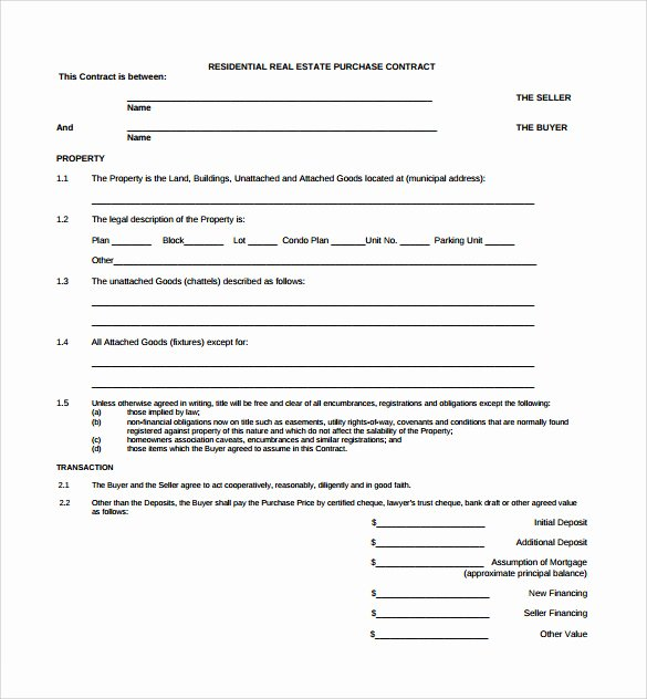 Free Real Estate Contract Best Of Real Estate Contract Template 14 Download Free