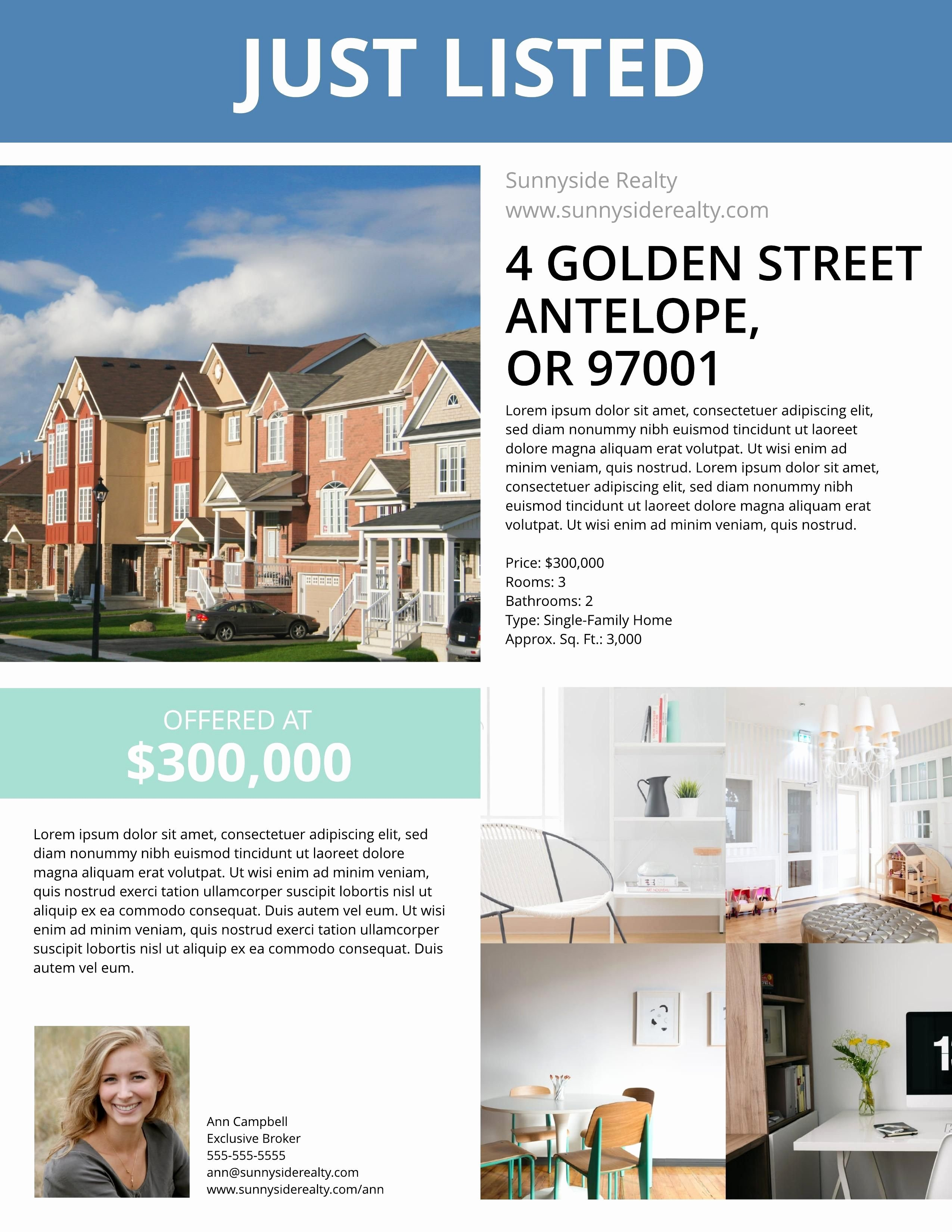 Free Real Estate Templates Best Of townhouse Listing Flyer Template