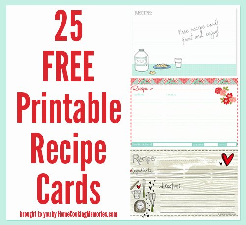 Free Recipe Card Templates Elegant 25 Free Printable Recipe Cards Home Cooking Memories
