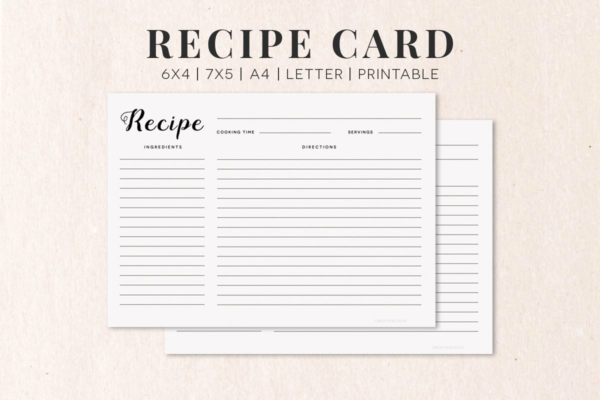 Free Recipe Card Templates Elegant Free Cooking Recipe Card Template Rc1 Creativetacos