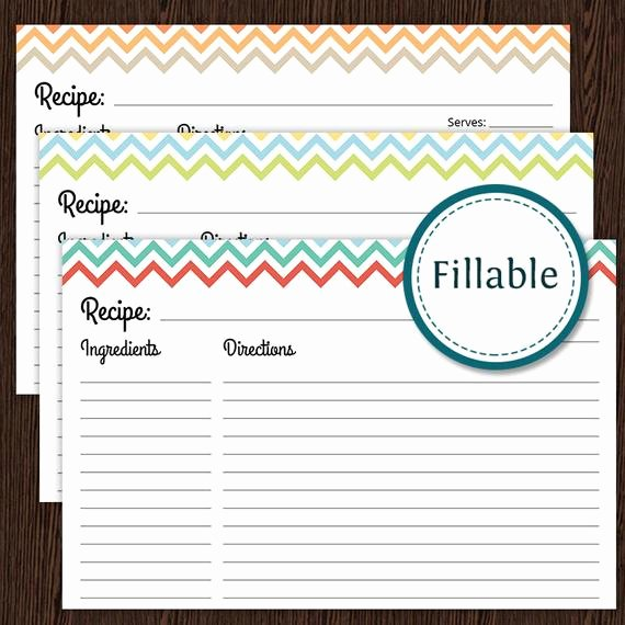Free Recipe Card Templates New Recipe Card Colourful Chevron Fillable 4x6 Recipe Card