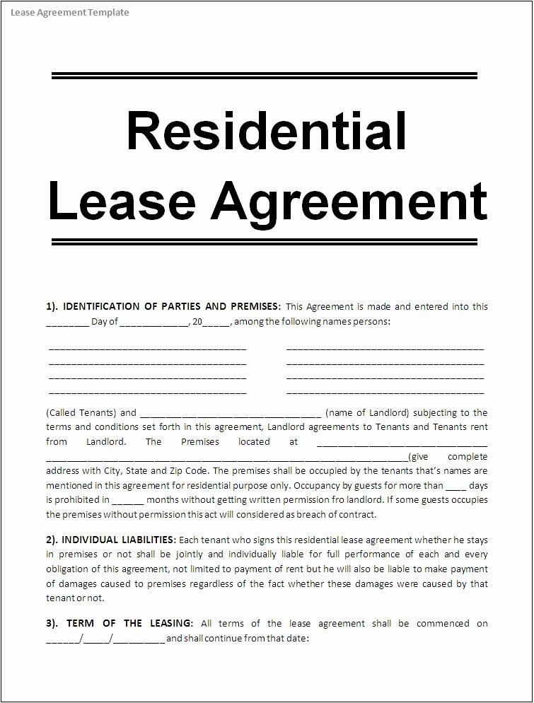 Free Rental Agreement Template Beautiful Printable Sample Free Lease Agreement Template form