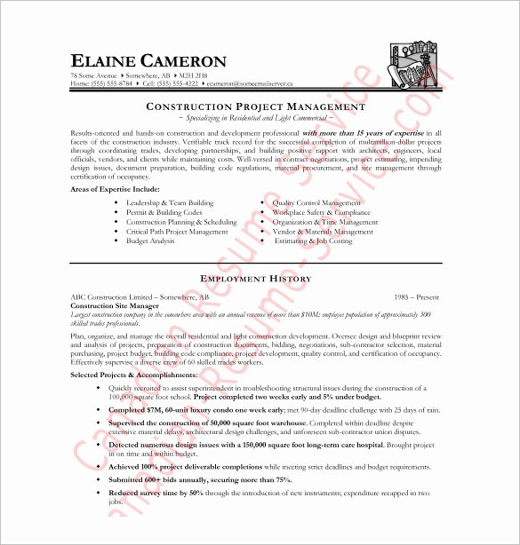 Free Resume Templates Pdf Beautiful Construction Resume Template – 9 Free Word Excel Pdf