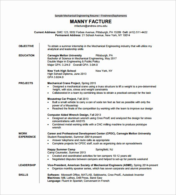 Free Resume Templates Pdf Beautiful Resume Template for Fresher – 10 Free Word Excel Pdf