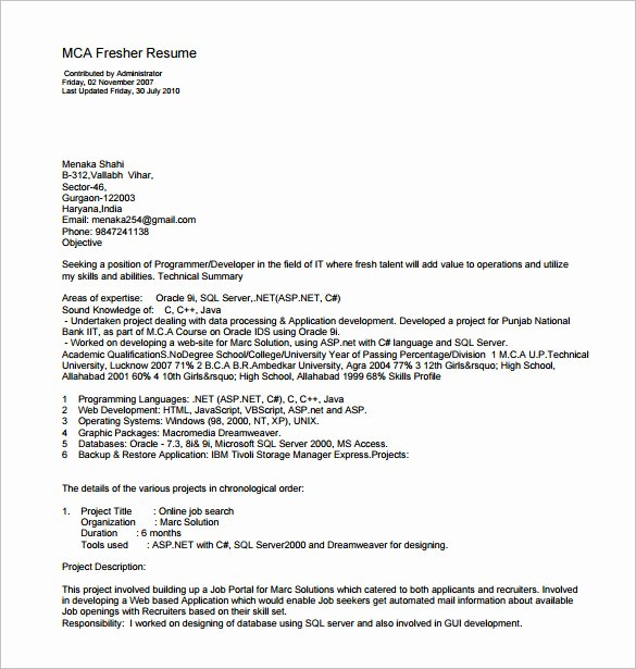 Free Resume Templates Pdf Best Of Resume Template for Fresher – 10 Free Word Excel Pdf