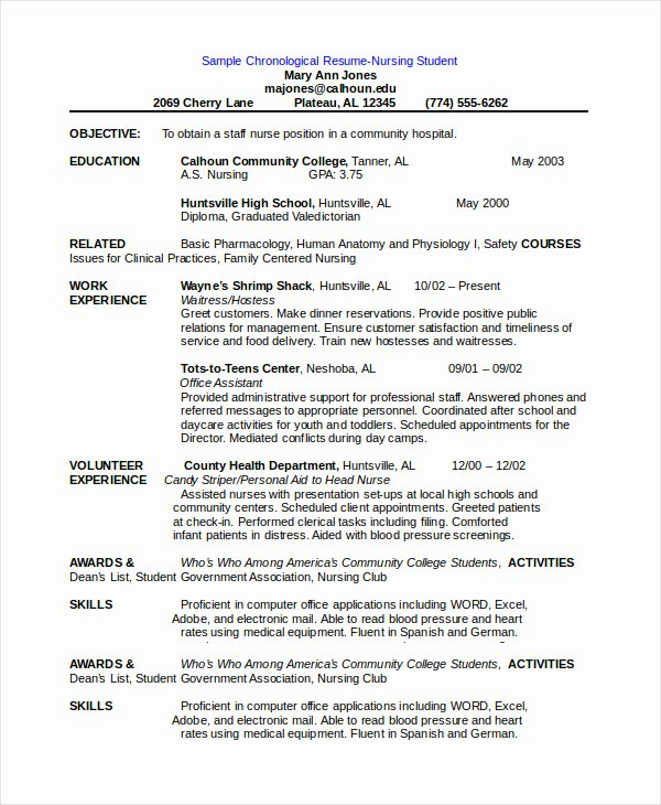 Free Resume Templates Pdf Lovely Chronological Resume Template 28 Free Word Pdf