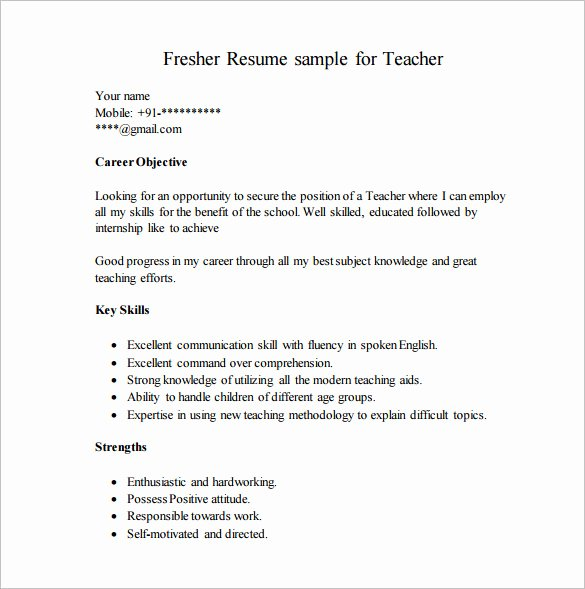 Free Resume Templates Pdf Luxury Resume Template for Fresher – 10 Free Word Excel Pdf