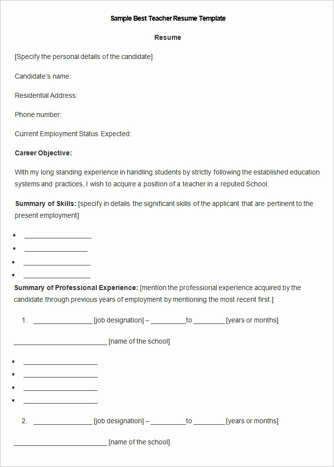 Free Sample Resume for Teachers Best Of Resume Templates – 127 Free Samples Examples & format