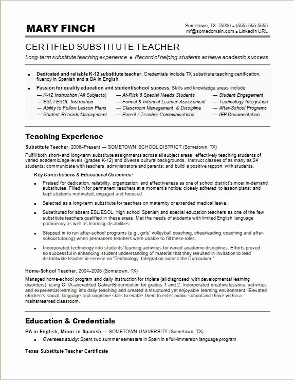 Free Sample Resume for Teachers Best Of Substitute Teacher Resume Sample