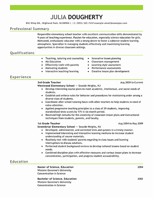 Free Sample Resume for Teachers Fresh Resume Examples Free Resume Example Resource