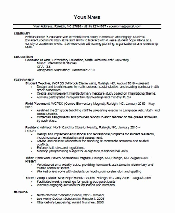 Free Sample Resume for Teachers Lovely Free Teaching Resume Templates – Resume Templates