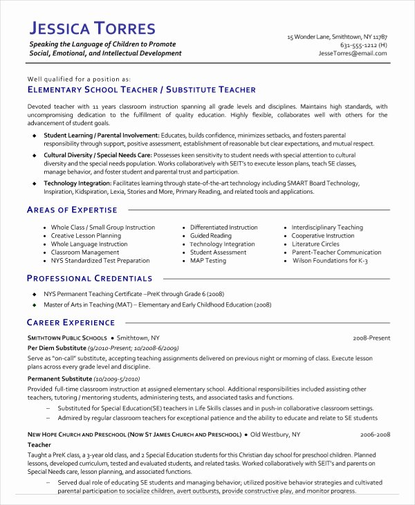 Free Sample Resume for Teachers Luxury 9 Substitute Teacher Resume Templates Pdf Doc