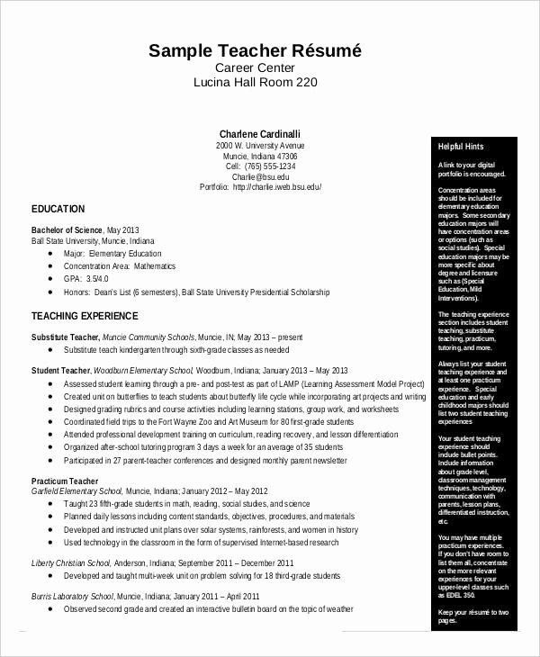 Free Sample Resume for Teachers Luxury Free Teacher Resume 40 Free Word Pdf Documents