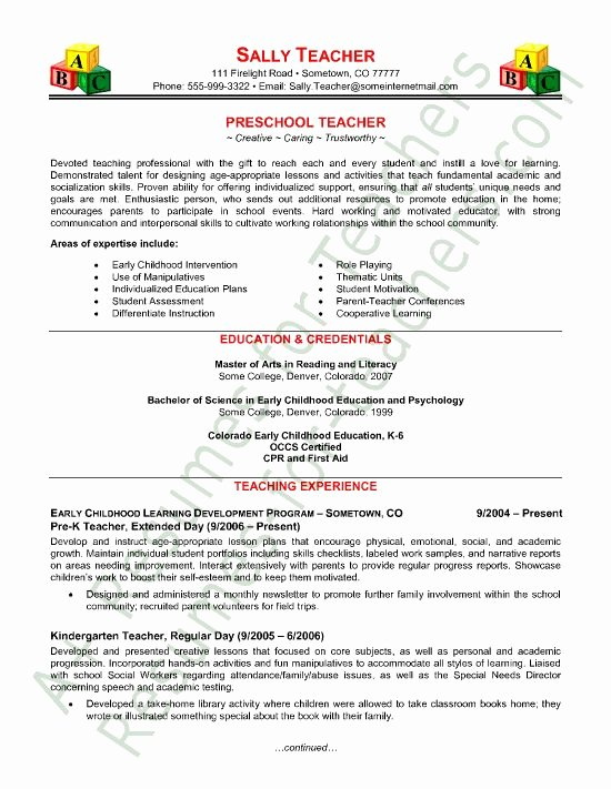 Free Sample Resume for Teachers New Teacher Resume Template Student and Teaching On Pinterest