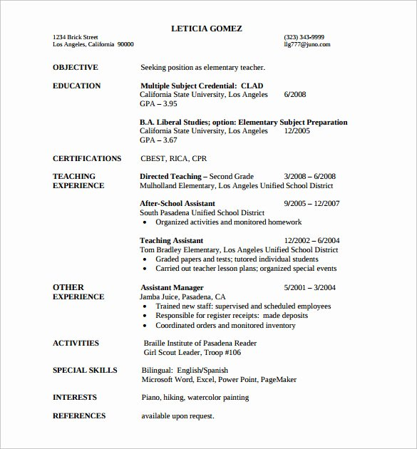 Free Sample Resume for Teachers Unique Sample Elementary Teacher Resume 12 Documents In Pdf Word
