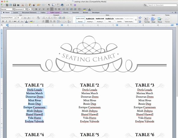 Free Seating Chart Template Fresh Free Table Planner Template