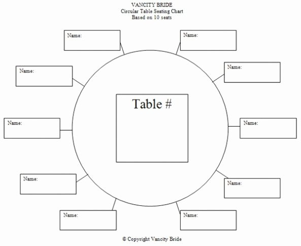 Free Seating Chart Template Luxury Circular Table Chart for 10 Guests