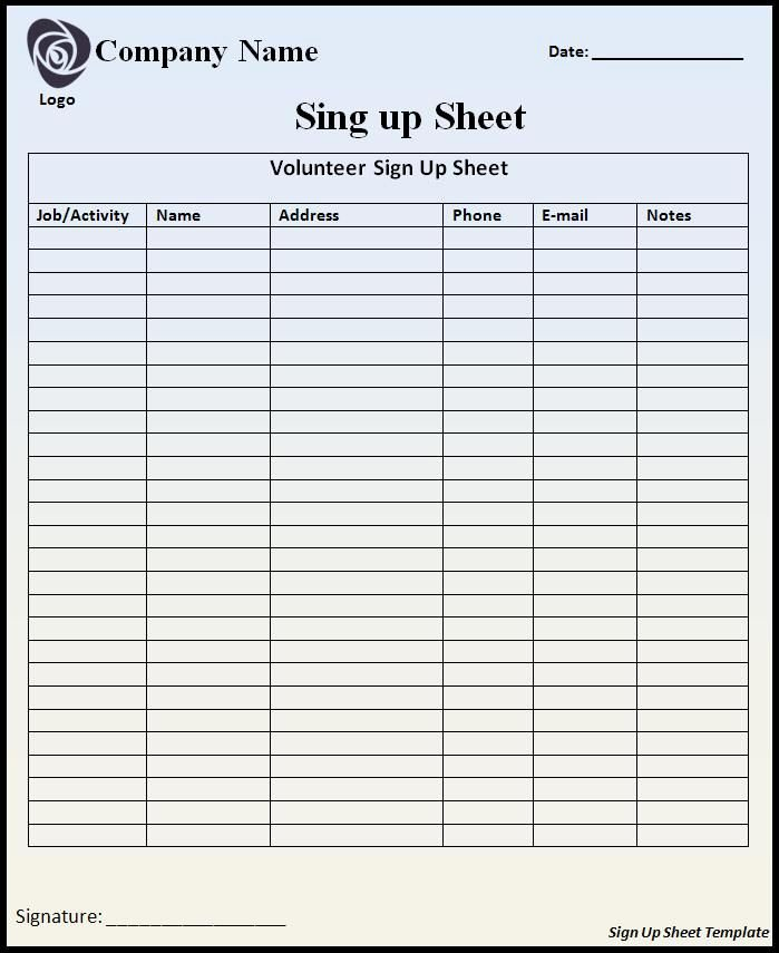 Free Sign In Sheet Template Inspirational Customizable Printable Sign Up Sheets Templates