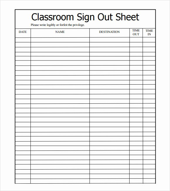 Free Sign In Sheet Template Inspirational Sample Sign Out Sheet Template 8 Free Documents