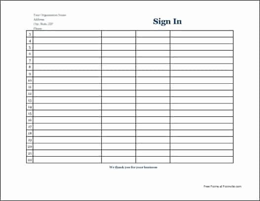 Free Sign In Sheet Template Unique 7 Free Sign In Sheet Templates Word Excel Pdf formats