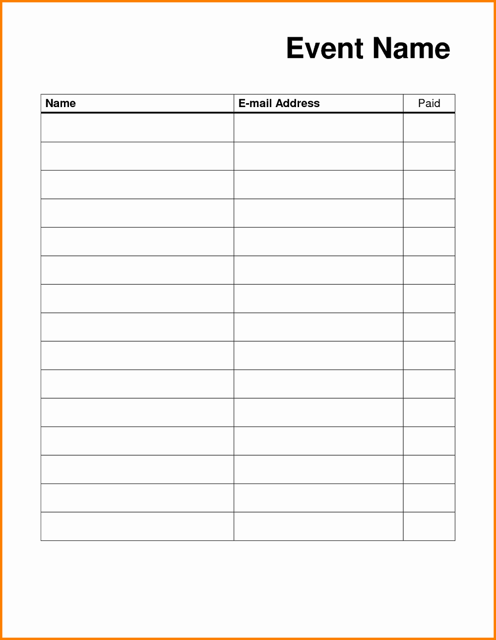 Free Sign In Sheet Template Unique Blank Sign Up Sheet Printable