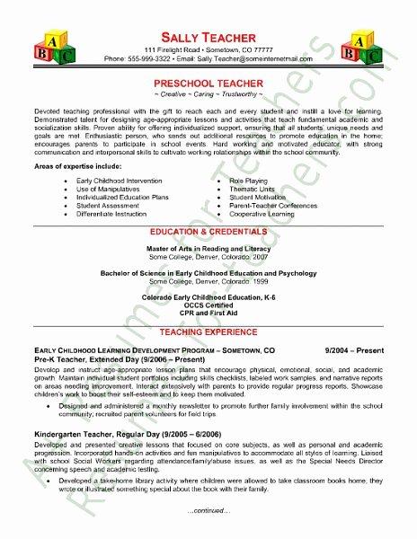Free Teacher Resume Templates Beautiful Free Sample Teacher Resume