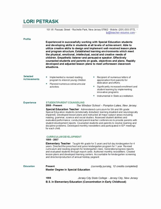 Free Teacher Resume Templates Best Of Teacher Resume Template