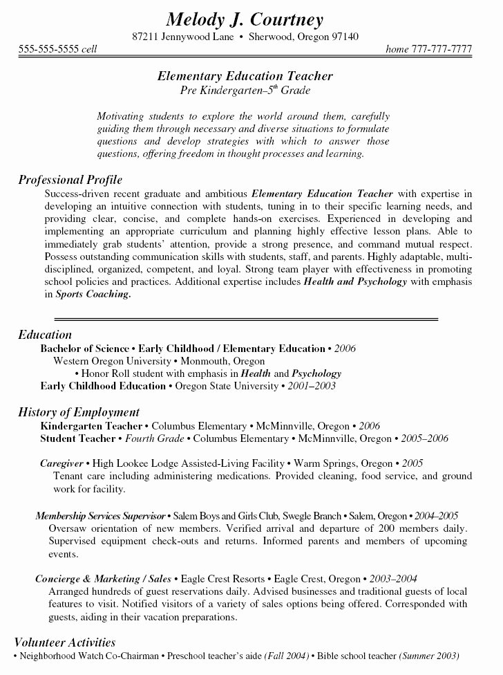 Free Teacher Resume Templates Elegant 19 Best Images About Resume On Pinterest