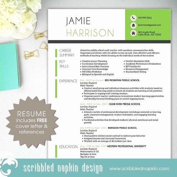 Free Teacher Resume Templates Elegant Teacher Resume Template Resume with Free Cover Letter
