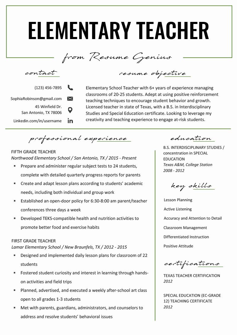 elementary teacher resume example