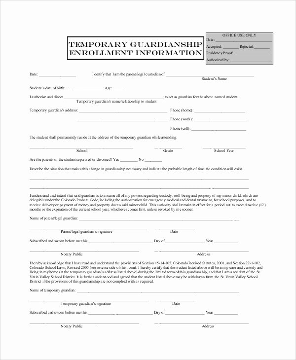 Free Temporary Guardianship form Awesome 10 Sample Temporary Guardianship forms Pdf
