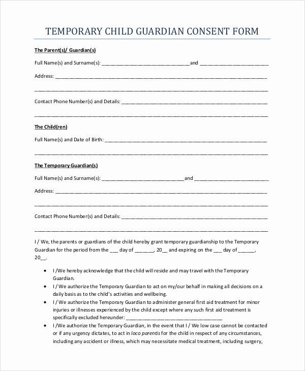 Free Temporary Guardianship form Beautiful 10 Sample Temporary Guardianship forms Pdf