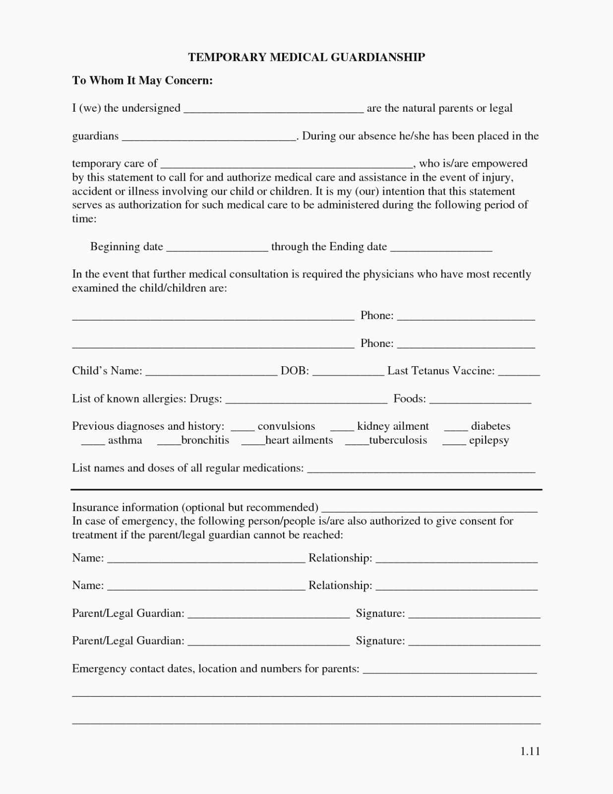 Free Temporary Guardianship form Elegant attending Legal Temporary Custody