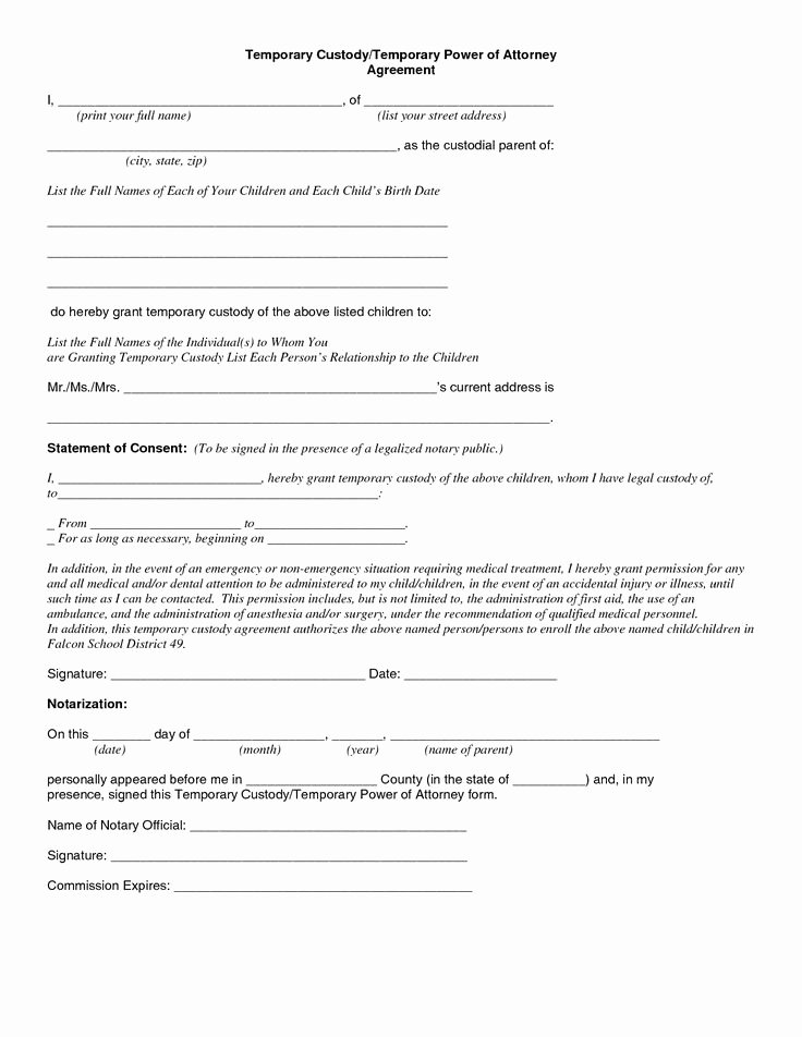 Free Temporary Guardianship form Elegant Child Custody Agreement Special Best S Temporary