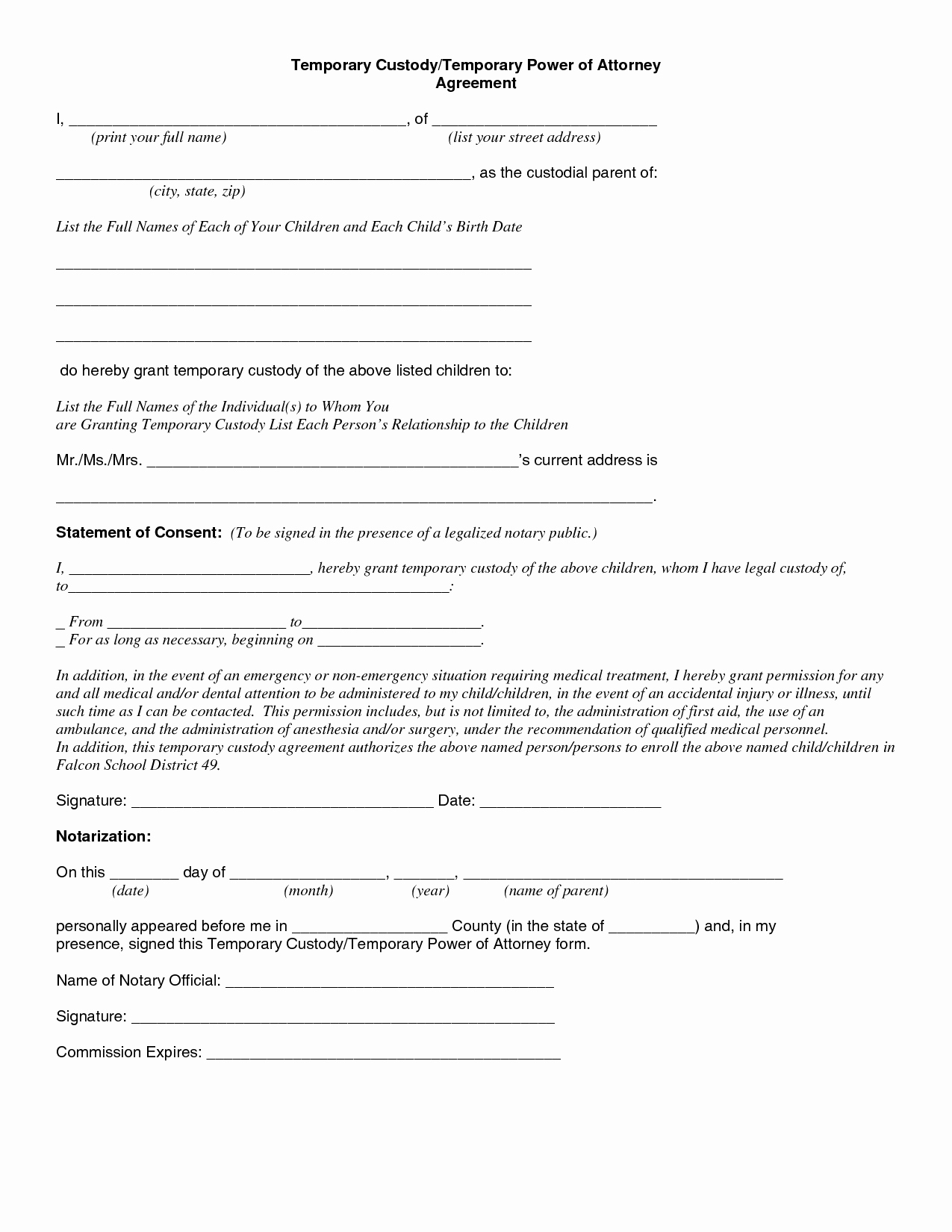 Free Temporary Guardianship form Inspirational 5 Custody Agreement Template Affidavit for Child Custody