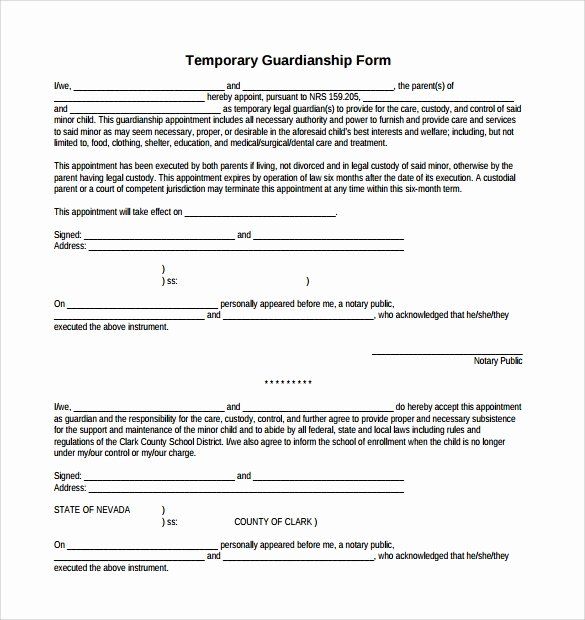 Free Temporary Guardianship form Lovely Sample Temporary Guardianship form 8 Download Documents