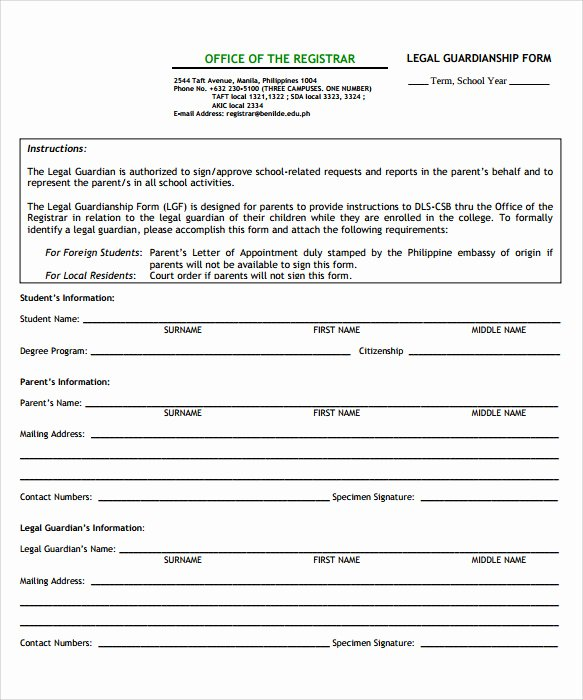 Free Temporary Guardianship form Luxury Sample Temporary Guardianship form 8 Download Documents