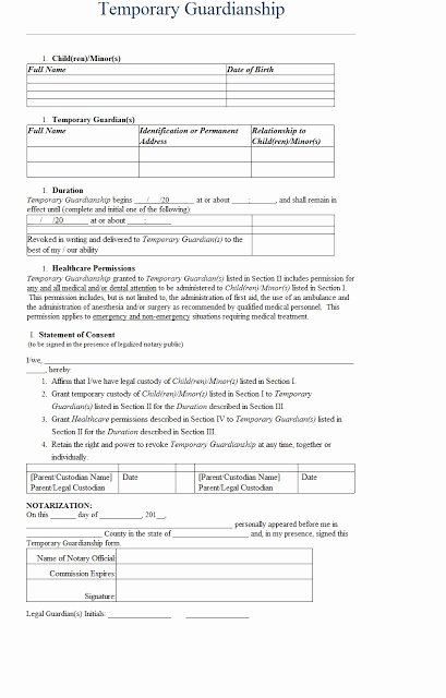 Free Temporary Guardianship form Luxury Temporary Guardianship Letter Template Sample