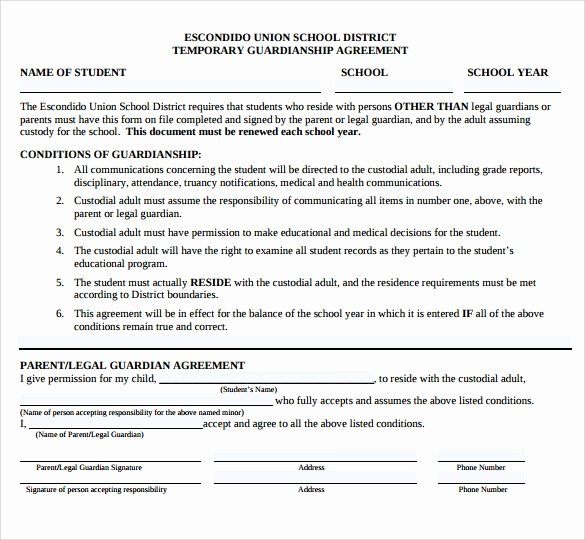 Free Temporary Guardianship form New Sample Temporary Guardianship form 9 Download Documents