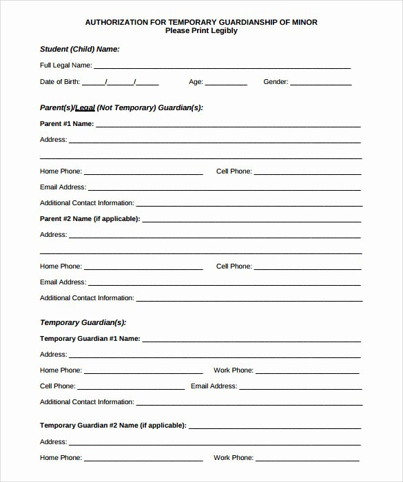 Free Temporary Guardianship form Unique Sample Temporary Guardianship form 8 Download Documents
