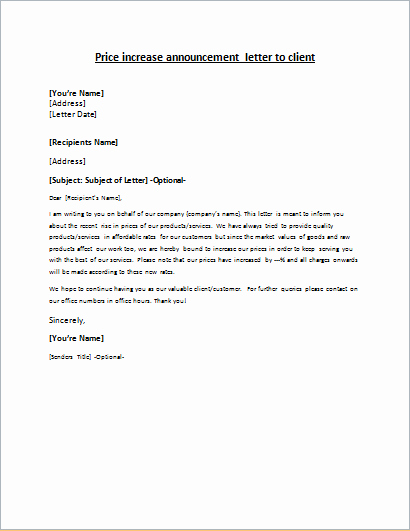 Friendly Rent Increase Letter Awesome Price Increase Announcement Letter to Client