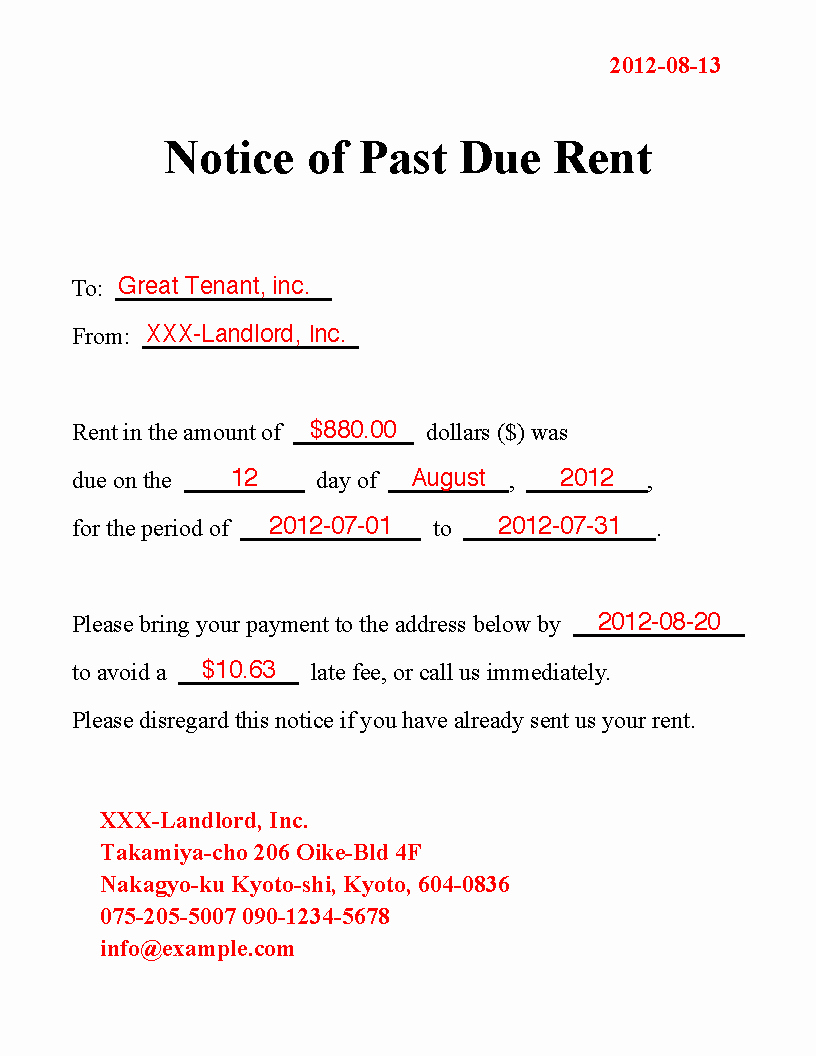 Friendly Rent Increase Letter Elegant Best S Of Rent Due Notice Template Past Due Rent