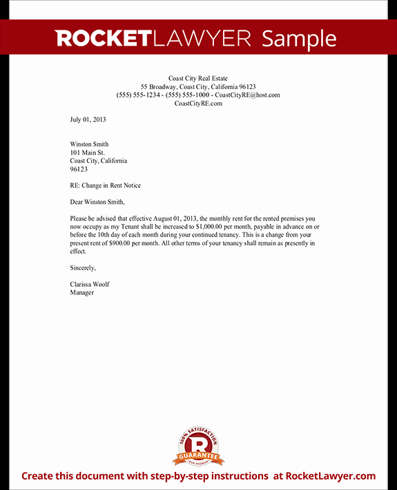Friendly Rent Increase Letter Inspirational Rent Increase Letter Template