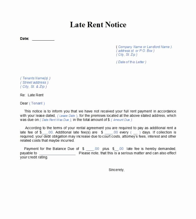 Friendly Rent Increase Letter New 34 Printable Late Rent Notice Templates Template Lab