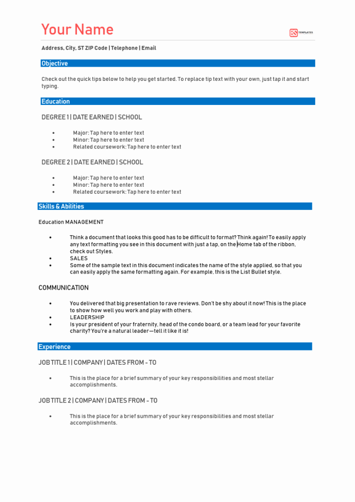 Functional Resume Template Word Inspirational Free Functional Resume Template [sample Word format]