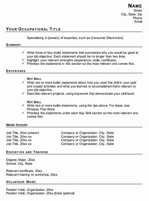 Functional Resume Template Word Luxury Functional Resume format