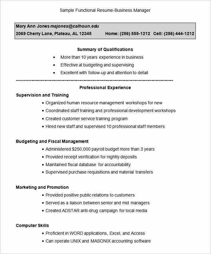 Functional Resume Template Word Luxury Functional Resume Template