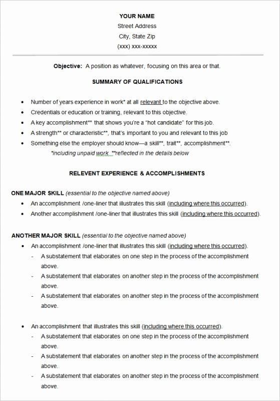 Functional Resume Template Word New Free Functional Resume Template