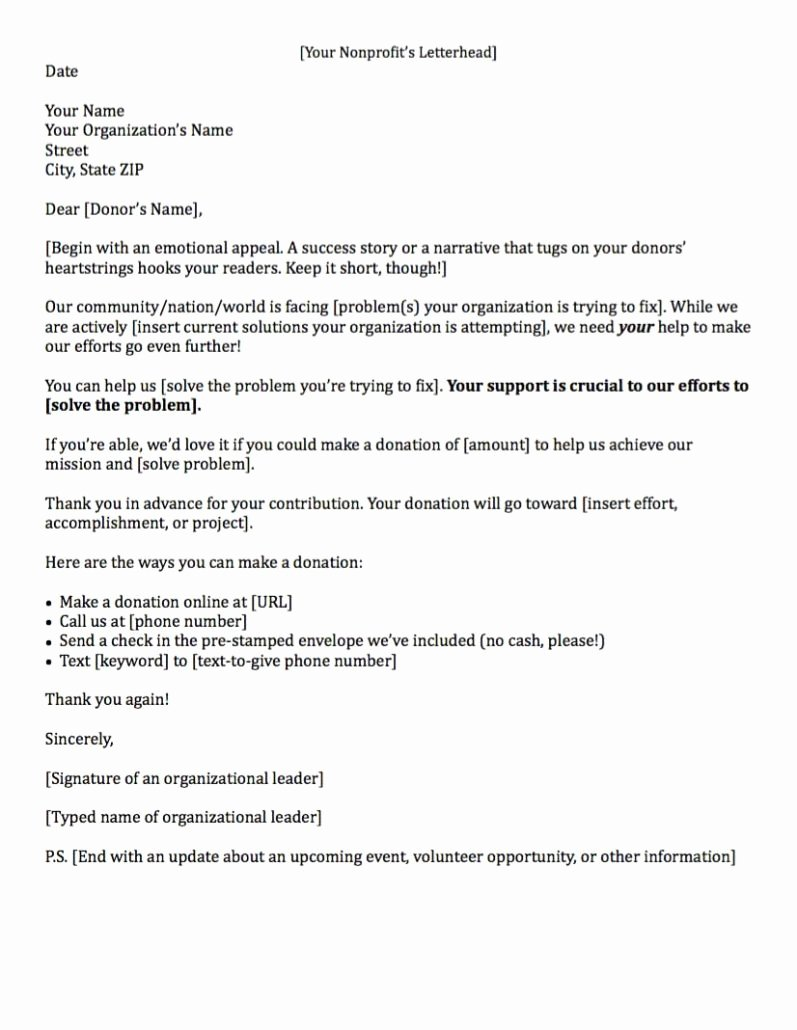 Fund Raising Letter Templates Unique Fundraising Made Effortless with 13 Donation Request Letters