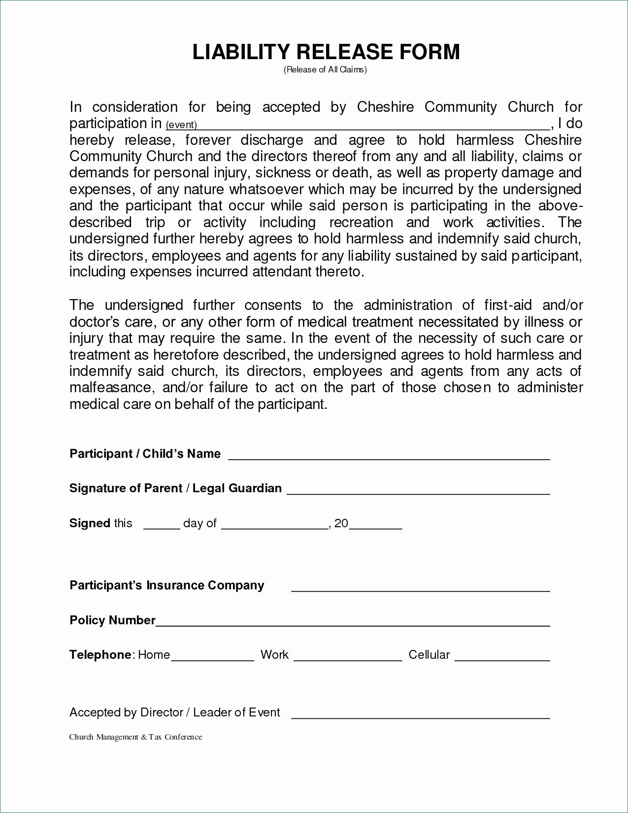 General Release form Template Best Of General Liability Release form Image – General Liability